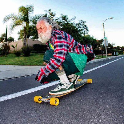 old man skateboard
